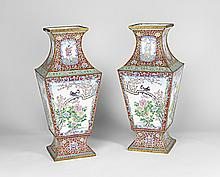 A PAIR OF CHINESE ENAMELLED CLOISONNE VASE