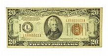 1934-A $20 U.S Brown Seal Hawaii Note