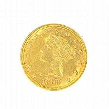 *1880-S $10 U.S. Liberty Head Gold Coin