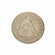 1860 Liberty Seated Quarter Dollar Coin