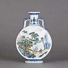A CHINESE BLUE AND WHITE MOON-SHAPE PORCELAIN VASE