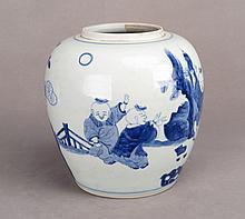 A CHINESE BLUE AND WHITE DENG KE JAR