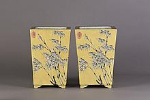 A PAIR OF CHINESE PORCELAIN FLOWER POTS