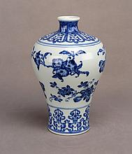 A CHINESE BLUE AND WHITE MEI PORCELAIN VASE