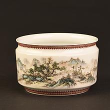 Chinese Famille Rose Porcelain Brush Washer