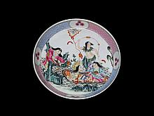 A CHINESE FAMILLIE ROSE PORCELAIN TEA TRAY