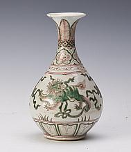 CHINESE GREEN AND UNDERGLAZE RED PORCELAIN VASE