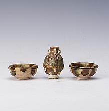 SET OF TRI-COLOUR TANG POTTERY WINE CONTAINERS