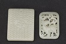 Gleaming white Jadeite plaque Pair