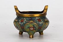Three footed cloisonné bronze incense burner