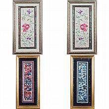 Four pieces of  Embroidery with frame