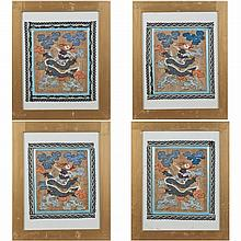 Four pieces of Kesi Tapestry Embroidery with frame