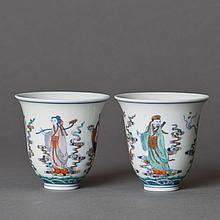 A PAIR OF DOUCAI PORCELAIN CUPS