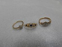 Three assorted 9ct gold rings.