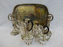 A four piece Sheffield plated tea set, a pair of
