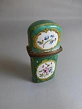 A Bilston enamel scent bottle holder complete with