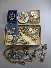 A quantity of costume jewellery and two 9ct gold