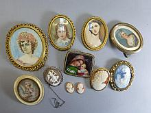 A collection of portrait miniature brooches and