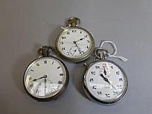 A silver cased pocket watch, one other and an