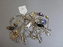 A selection of silver jewellery including an Agtha