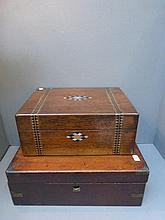 Two 19th Century lidded boxes, one with parquetry