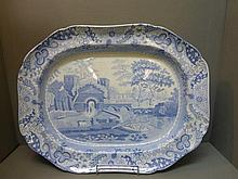 A 19th Century blue and white Spode turkey plate