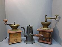 Two coffee grinders and a 19th Century wooden