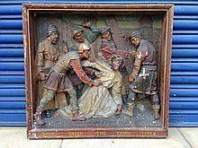 A late 19th Century gesso wooden framed plaque