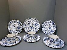 A 19th Century blue and white Ridgways tea set.