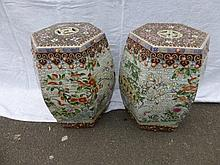 A pair of Chinese hexagonal ceramic seats with
