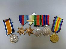 Two WWI medals presented to 153651 GNR. D. BRION.