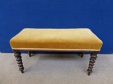 A Victorian rosewood upholstered duet stool raised