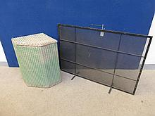 A Lloyd Loom corner basket and a fire screen.