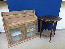 A pine glazed wall cabinet and an Edwardian