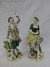 A pair of 18th Century porcelain figures depicting