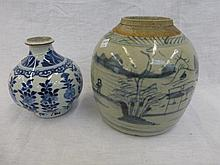 A 19th Century bulbous shaped Chinese blue and