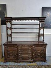 An early 20th Century oak dresser, the base with