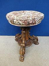 A Victorian revolving piano stool with a