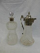A Falstaff cut glass claret jug and a cut glass