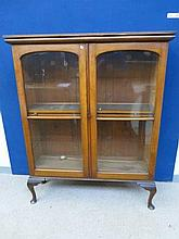 An Edwardian mahogany two door glazed display
