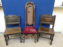 A pair of 18th Century oak side chairs and a
