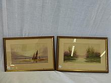 F. STAFFORD - two watercolours depicting a country