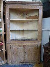 A Georgian pine standing corner cabinet of open
