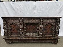 A 17th Century Continental heavily carved oak