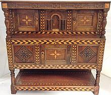 A 20th Century parquetry inlaid oak miniature