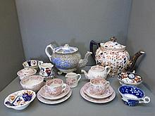 An assortment of 19th Century cups and saucers, a