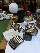 An assortment of flatware, a silver plated brass