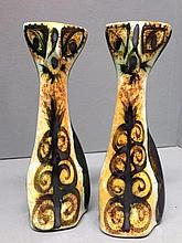 A pair of unusual pottery cats, possibly 1970s