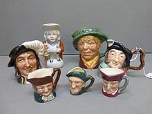 Five Royal Doulton miniature character jugs and