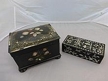 An early Victorian papier mache and MOP inlaid tea